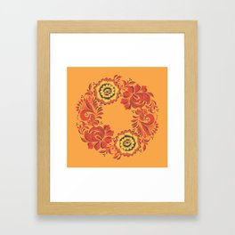 Orange Khokhloma Framed Art Print