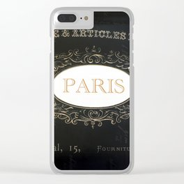 Paris Black White Gold Typography Home Decor Clear iPhone Case