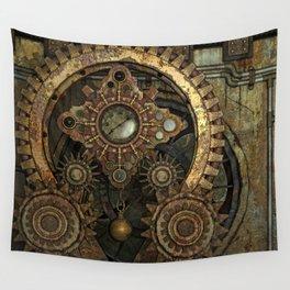 Rusty Vintage Steampunk Gears Wall Tapestry
