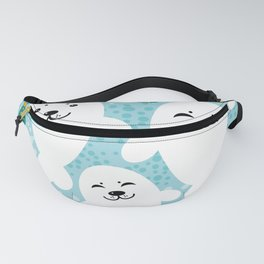 happy family of white seals and fish on a blue background. Fanny Pack