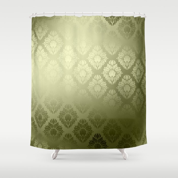 Olive Damask Pattern Shower Curtain