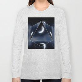 Crescent Moon over Starry Sky Long Sleeve T-shirt