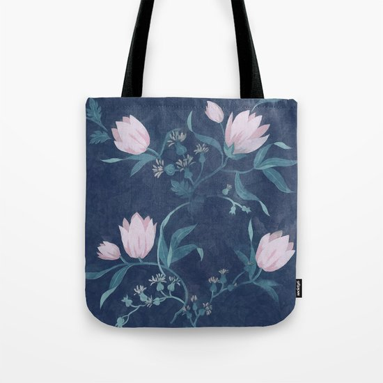 Pink tulips pattern on a dark background Tote Bag