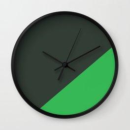 Dark Grey & Bright Green - oblique Wall Clock