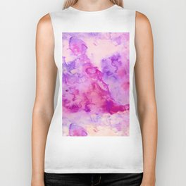Modern abstract pink purple watercolor wash paint Biker Tank