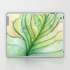 Green Watercolor Peacock Feather and Bubbles Laptop & iPad Skin