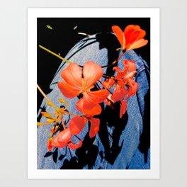 Geranium flowers on blue jean Art Print