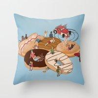 doughnut Throw Pillows featuring Doughnut Selection by Stephen Sharpe