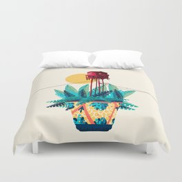 Potted house with plants Duvet Cover