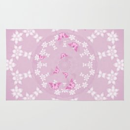 Pretty pink butterflies on flower mandala Rug