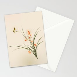 Oriental style painting - orchid flowers and butterfly 003 Stationery Cards
