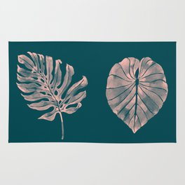 Tropical leaves in watercolor, navy/peach palette Rug