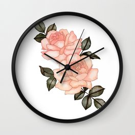 Queen Anne Roses Wall Clock