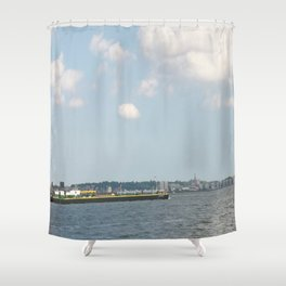 Freighter on NY river Shower Curtain