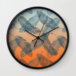 Blue Feathers Pattern Wall Clock