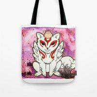 okami Tote Bags featuring Amaterasu from Okami 02 by Jazmine Phillips