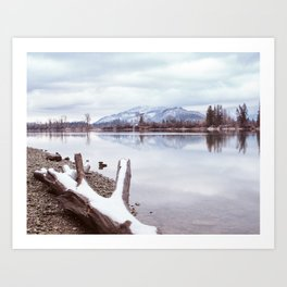 Winter Shoreline and Mountains Art Print