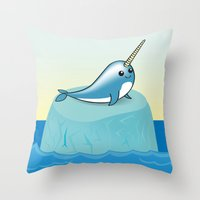 narwhal Throw Pillows featuring narwhal by bunnyandbird