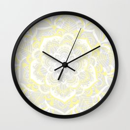 Woven Fantasy - Yellow, Grey & White Mandala Wall Clock