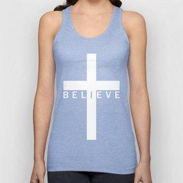 Believe Cross (Black & White) Unisex Tank Top