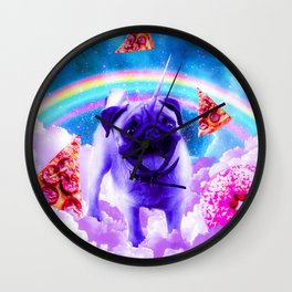Rainbow Unicorn Pug In The Clouds In Space Wall Clock