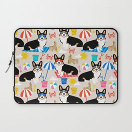 TriCorgi Sandcastle Summer Beach Day summer sun corgi dog cute pattern Laptop Sleeve