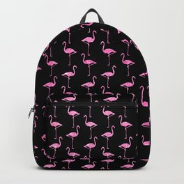 Pink Glitter Flamingo Pattern  |  Black Background Backpack