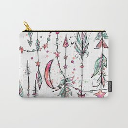 Bohemian Pink and Aqua Carry-All Pouch