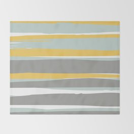 Stripe Abstract, Sun and Beach, Yellow, Pale, Aqua Blue and Gray Throw Blanket