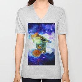 Mandarin Fish with Space Background Unisex V-Neck