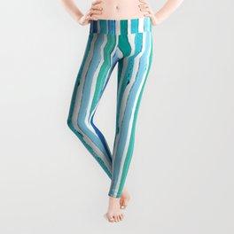 Lipstick Stripes - Blue Teal Turquoise Leggings
