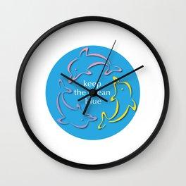 Keep the Ocean Blue_Dolphins rotating Wall Clock