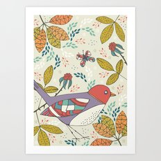 Bird and Butterfly  Art Print