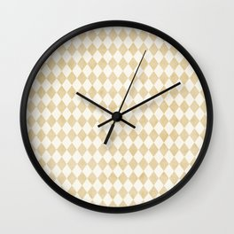 Chic Gold & Ivory Harlequin Pattern Wall Clock