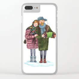 Russian funky couple Clear iPhone Case