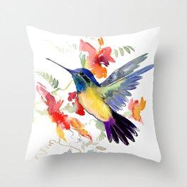 Hummingbird, floral bird art, soft colors Throw Pillow