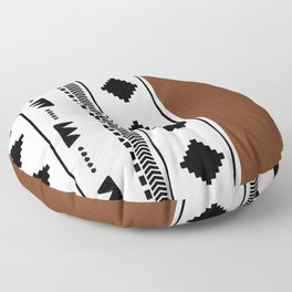 Southwestern white with faux leather texture Floor Pillow