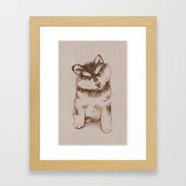 Husky puppy. Sketch. Framed Art Print