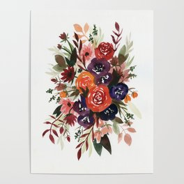 Country Fall Watercolor Bouquet Poster