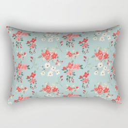 Ditsy Pink and White Floral Pattern Rectangular Pillow