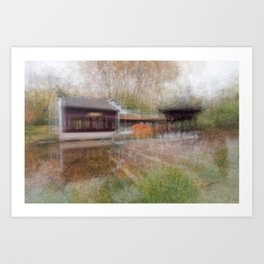 Impressionist image of the inside of the Chinese Garden, Frankfurt, Germany Art Print