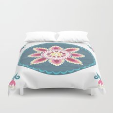 Suzani inspired floral blue 2 Duvet Cover