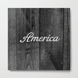 Black and White Patriotic Vintage America USA Wood Metal Print
