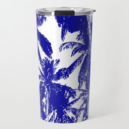 Palm Trees Design in Blue and White Travel Mug