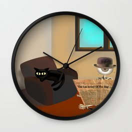 Monsieur Bone and the cat in the room Wall Clock