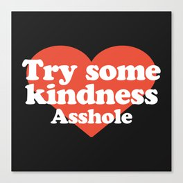 Try Some Kindness Funny Offensive Quote Canvas Print