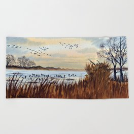 Duck Hunting Season Begins For The Canvasback Beach Towel