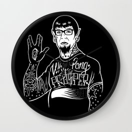 Whip Long & Prosper (White lines art/products) Wall Clock