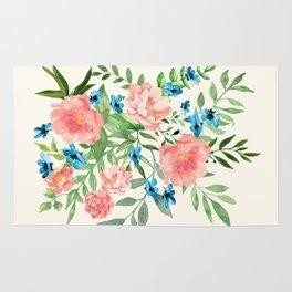 Watercolor Peonies Rug