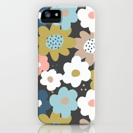 Retro Floral in Blue, Pink and Mustard iPhone Case